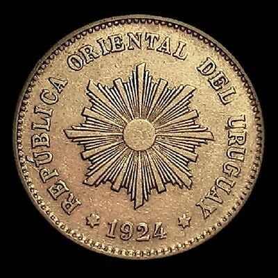 Scarce 1924 Uruguay 5 Centesimos High Detail
