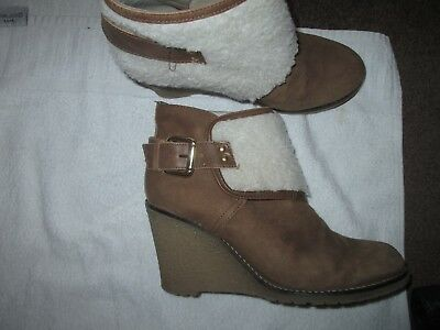 River Island Tan Suede - Wedge Heel - Buckle Detail Boots Size 4