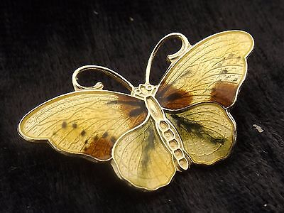 Vintage Silver Gilt and Enamel Butterfly Brooch  by Hroar Prydz of Norway