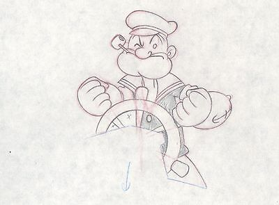 Popeye Production Animation Cell Drawing with COA