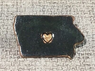 Signed Handcrafted Enameled Copper Iowa State Pin Or Brooch
