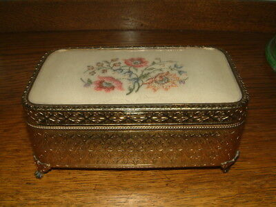 Petit Point Box With Hinged Lid - Embroidered Flowers