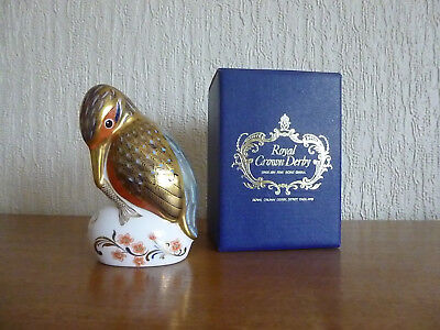 Royal Crown Derby Kingfisher Paperweight, gold stopper (1st quality) & boxed