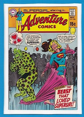 """Adventure Comics #386_November 1969_Very Fine+_""""the Beast That Loved Supergirl""""!"""