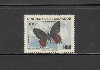 El Salvador 1975 Surcharged Butterfly Sc  C353 Mint Very Lightly Hinged