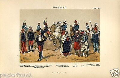Frankreich Uniformen Druck 1892 Uniform Husar Dragoner Train Zuave Turko Spahi
