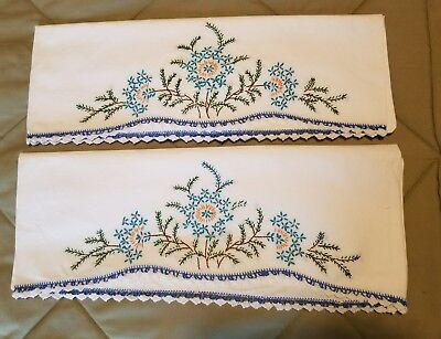Vintage White Pillow Cases Hand Embroidered Floral Design Hand Crochet Edge