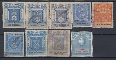 F-Ex5015 England Uk Great Britain Revenue Stamps Lot Southampton Railroad