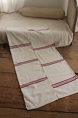 Vintage European mattress daybed cover linen cotton red stripes 1930's homespun~