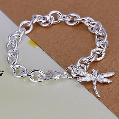 Hot fashion jewelry 925solid silver charm Dragonfly Pendant Bracelet BANGLE xmas
