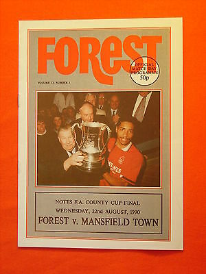 Nottingham Forest v Mansfield Town, Notts FA County Cup Final   22nd August 1990