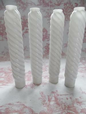 4 Antique French Glass Candle Tubes / Covers