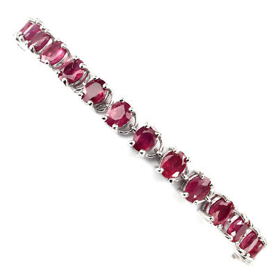 Gorgeous Oval Cut 5x4 Mm Top Blood Red Ruby 925 Sterling Silver Bracelet 10 Inch