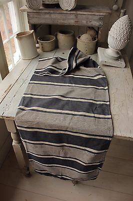 Ticking French French c 1900 bolster pillow cover denim fabric blue stripe