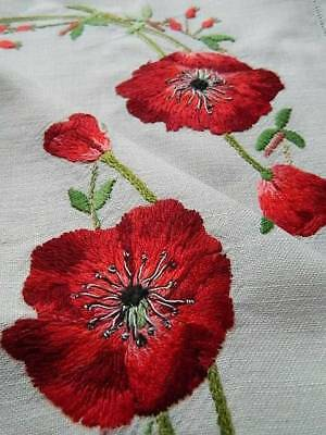 Vintage Irish linen hand embroidered table topper or tray cloth - Red Poppies.