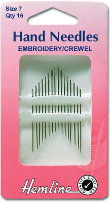 Hemline H200 | Embroidery/Crewel Hand Sewing Needles 16 Pack