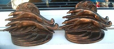 Modernist Set Art Deco Stylized Greyhound Borzoi Racing Dog Bronzed Bookends