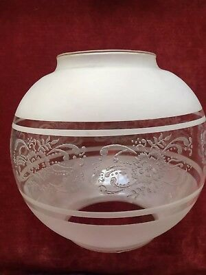 Beautiful Victorian Acid Etched Round Oil Lamp Shade Rare