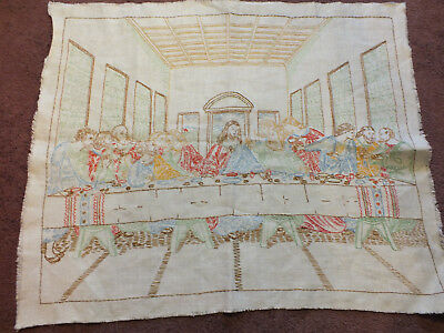 "Needlepoint Embroidered Sampler ""Last Supper"" Complete Ready to Frame 19x15"" WOW"