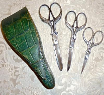 BEAUTIFUL SET 3 PAIRS 19th CENTURY VICTORIAN SCISSORS ORIGINAL LEATHER CASE