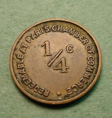 Paris Il Tax Trade Token Good For 1/4 Cent Same Both Sides<>#07993