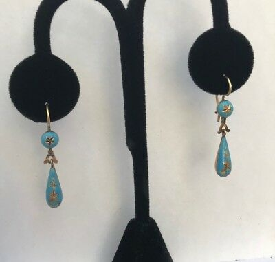 Fabulous! Antique Victorian 14K Gold And Turquoise Enamel Dangle Drop Earrings