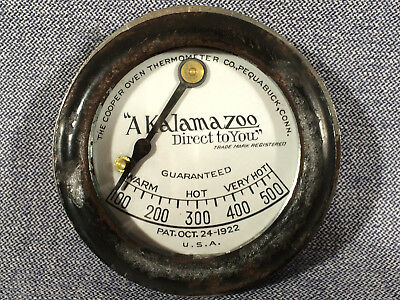 Antique Kalamazoo Wood Cook Stove Thermometer Assembly Porcelain Face 1922 Used