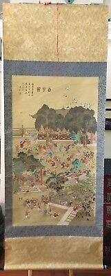 """Large Vintage Chinese or Japanese Wall Hanging Scroll Hand Painted """"100 Boys"""""""