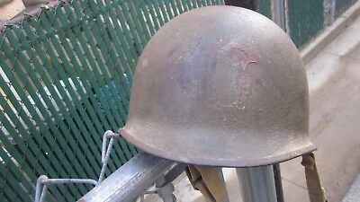 WW 2 American helmet with Khaki straps and numbered