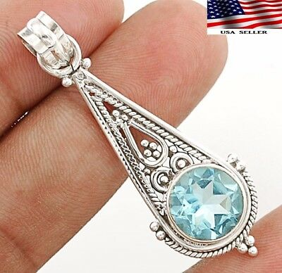 "2CT Aquamarine 925 Solid Genuine Sterling Silver Pendant Jewelry 2"" Long"