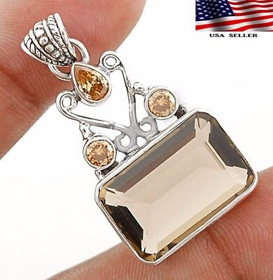 22CT Smoky Topaz 925 Solid Genuine Sterling Silver Pendant Jewelry 1 1/2'' Long