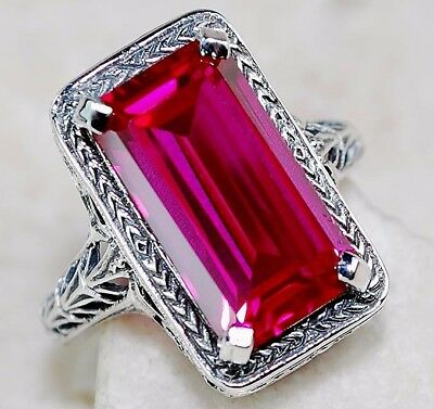 7CT Ruby 925 Solid Genuine Sterling Silver Art Deco Filigree Ring Jewelry Sz 8