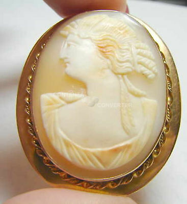 "Perfect 14k Gold 2"" Antique Shell Cameo Brooch Pin"