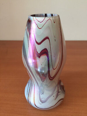 Antique Rindskopf Loetz Bohemian Czech Art Glass Marbled Pulled Swirl Vase 6""