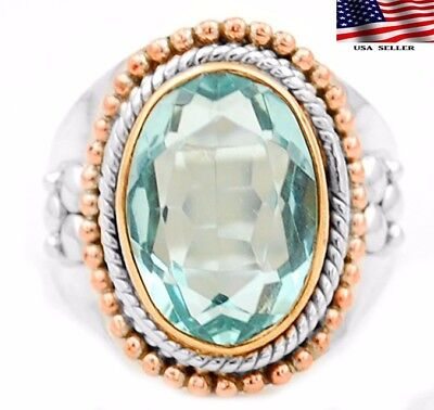 6CT Aquamarine 925 Solid  Sterling Silver Victorian Style Ring Jewelry Sz 7.75