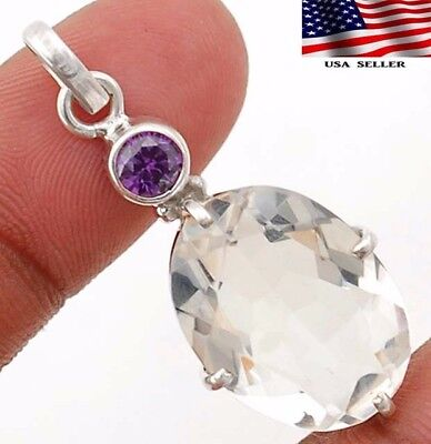 "14CT White Topaz 925 Solid Sterling Silver Pendant Jewelry 1 1/2 "" Long"