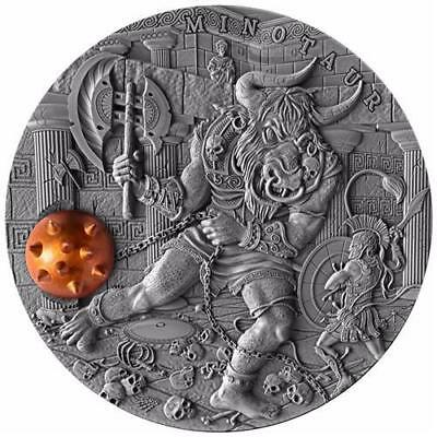 Niue 2017 $5 Ancient Myths MINOTAUR 2 oz High Relief Antique Finish Silver Coin