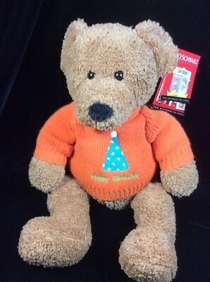"FAO Schwarz Happy Birthday Brown Teddy Bear Plush Orange Sweater New 16"" Soft"