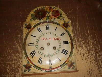 Antique Grandfathers Clock Tall Case Clock Painted Wood Dial