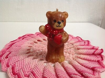 """Lucy And Me """"christmas Lucy Bear Candle Red Ribbon & Heart"""" Lucy Rigg Enesco"""