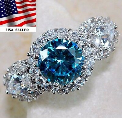 3CT Aquamarine & White Topaz 925 Solid Sterling Silver Ring Jewerly Sz 8