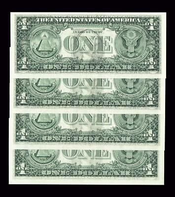 Four 2006 $1 Front/back Fed Transfer Errors All 4 Notes Are Gem Unc
