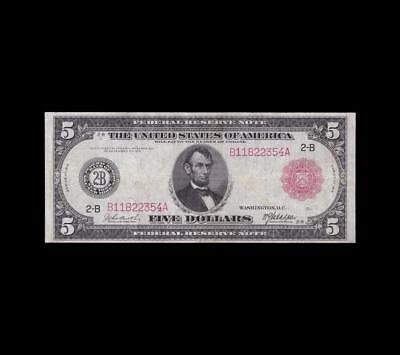 Extremely Rare 1914 $5 Red Seal Fed Fr.833B Very Fine