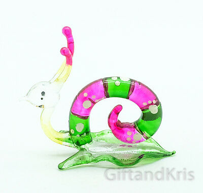 Figurine Animal Miniature Hand Blown Glass Reptile Snail - GTSN009