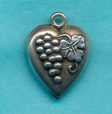 Vintage Sterling PUFFY HEART ~ GRAPE AND GRAPE LEAF ~ 1940's Charm GLADYS Name