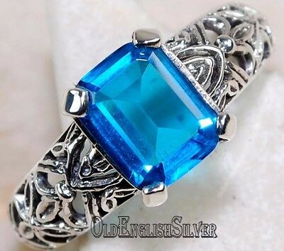2CT Blue Topaz 925 Solid Sterling Silver Art Deco Filigree Ring Jewelry Sz 6