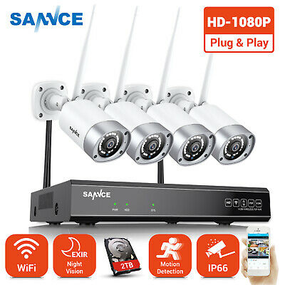 SANNCE Wireless 1080P 8CH HDMI NVR 2TB HDD Night Vision Security Camera System