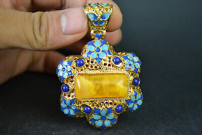 Nice Collectible Old beeswax cloisonne flower Beauty Snuff Bottle