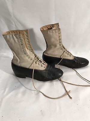 Antique Victorian HIGH LACE UP CHILD doll Shoes DRESS Boots WHITE BLACK TWO TONE