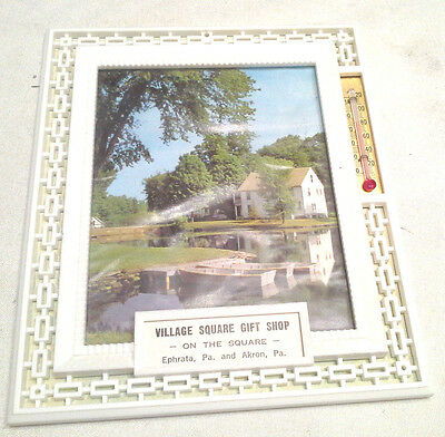 1969 Advertising Village Square Gift Shop Plastic Picture Calendar Thermometer